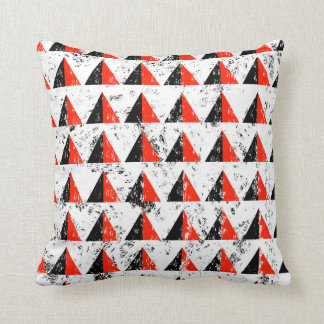 Red Distressed Triangle Pattern Cushion