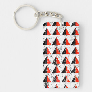 Red Distressed Triangle Pattern Double-Sided Rectangular Acrylic Key Ring