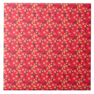Red Ditsy Flowers Pattern Large Square Tile