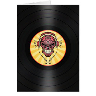 Red Dj Sugar Skull on Vinyl Record Graphic Card