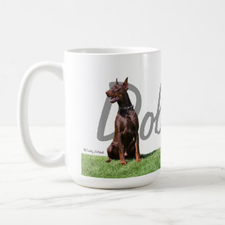 Red Doberman Pinschers with breed name graphic Mug