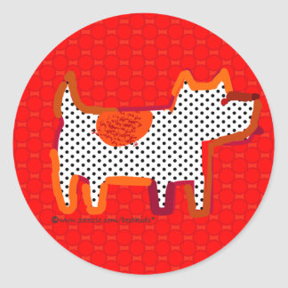'red dog' digital painting sticker seal