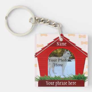 Red Dog House Dog Custom Memorial Double-Sided Square Acrylic Key Ring