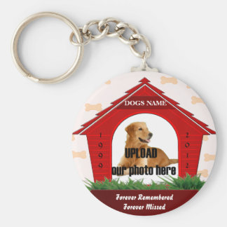 Red Dog House Pet Memorial Basic Round Button Key Ring