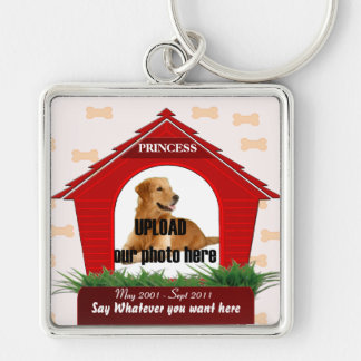Red Dog House Pet Memorial Silver-Colored Square Key Ring