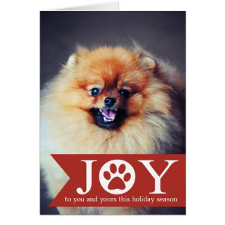 Red- Dog Paw Joy Banner Photo Christmas Cards