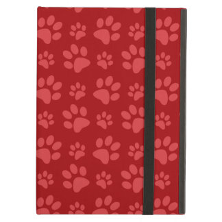 Red dog paw print pattern iPad air covers