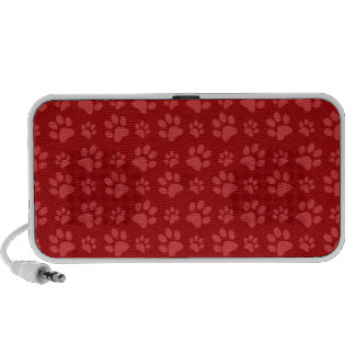 Red dog paw print pattern iPod speakers