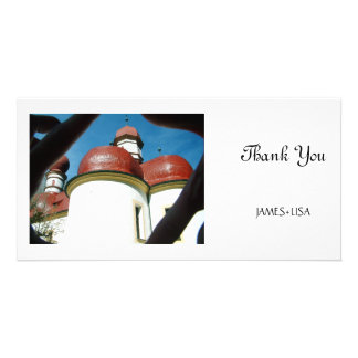 Red domed roof church personalised photo card