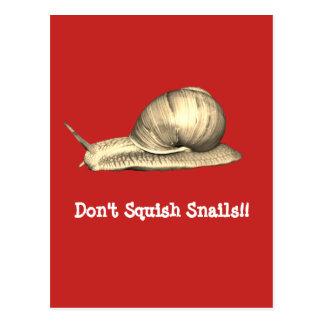 Red Don't Squish Snails Design Postcard