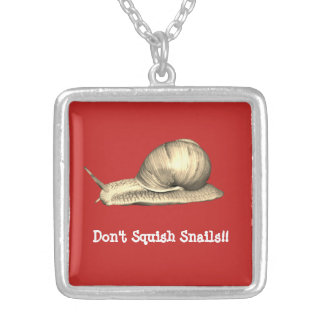 Red Don't Squish Snails Design Silver Plated Necklace