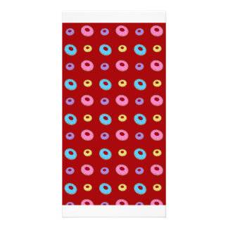 Red donut pattern photo card template