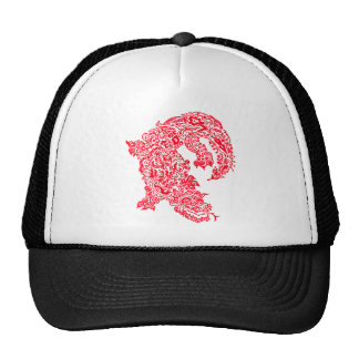 Red doodle dragon hat