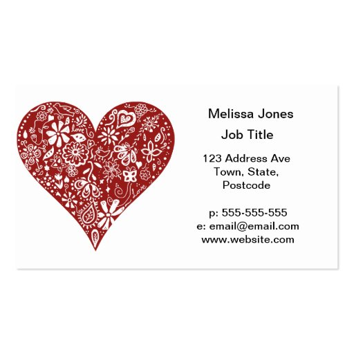 Red Doodle Heart Business Card Templates