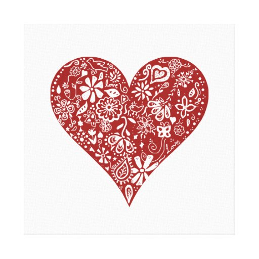 Red Doodle Heart Canvas Print