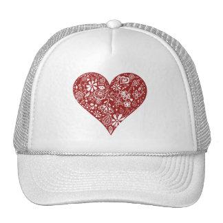 Red Doodle Heart Trucker Hat