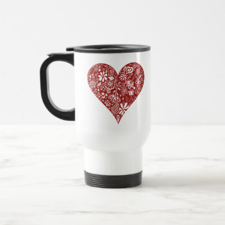Red Doodle Heart Coffee Mugs