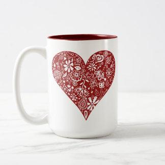 Red Doodle Heart Coffee Mug