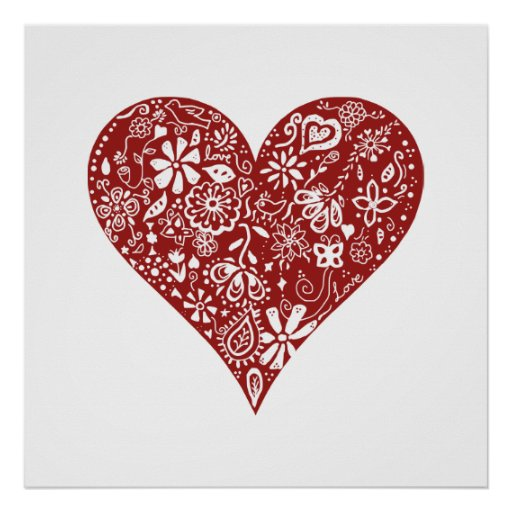 Red Doodle Heart Print
