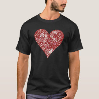 Red Doodle Heart T-Shirt