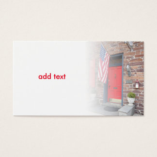 red door and American flag for colonial house Business Card