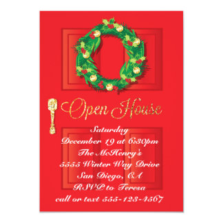 Red Door Christmas Holiday Open House with wreath 13 Cm X 18 Cm Invitation Card