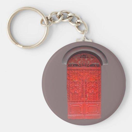 Red Door in Alley Keychain