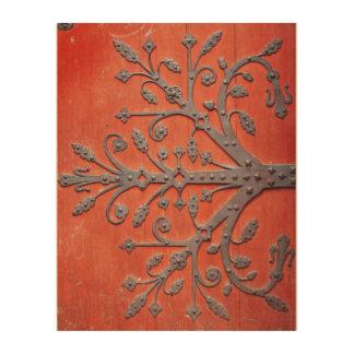 Red Door Wrought Iron Tree Decal Wood Print