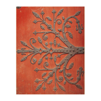Red Door Wrought Iron Tree Decal Wood Wall Decor