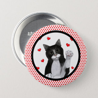 Red Dots Black Border 7.5 Cm Round Badge