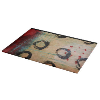 Red Dots & Circles Painterly Cutting Board