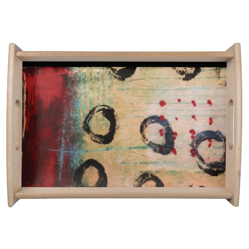 Red Dots & Circles Painterly Serving Tray