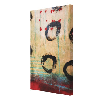 Red Dots & Circles Painterly Wrapped Canvas Gallery Wrap Canvas