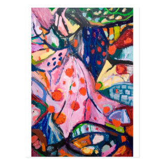 Red Dots (fabric expressionism) Postcard