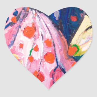 Red Dots fabric expressionism Heart Sticker