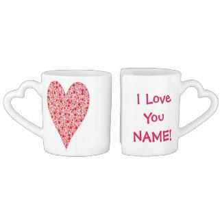 Red dots mosaic Heart Shape pink polka dots Couples Mug
