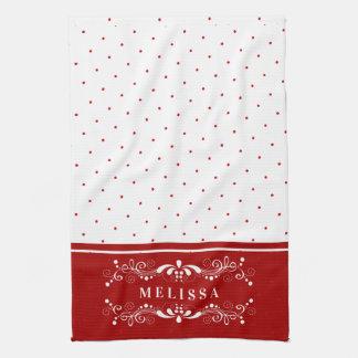 Red Dots & Vintage Floral Swirls Frame Monogram Tea Towel