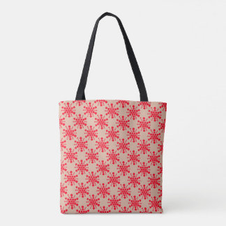 Red dotted stars on taupe tote bag