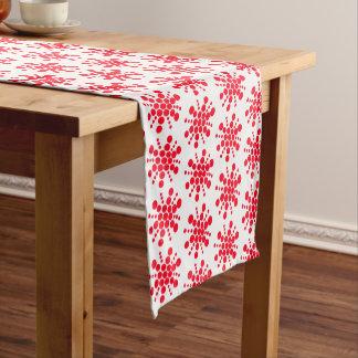 Red dotted stars on white short table runner