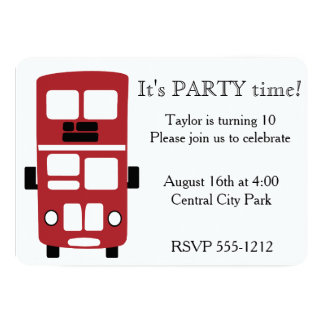 Red double decker bus custom invitation