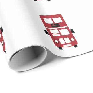 Red double decker bus custom wrapping paper