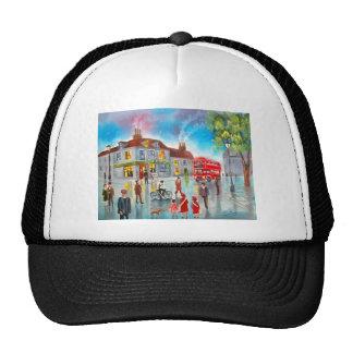 Red double decker bus street scene painting mesh hat