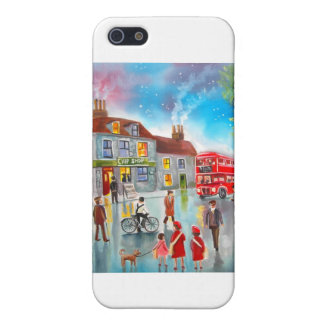 Red double decker bus street scene painting iPhone 5 cover