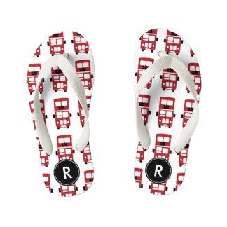 Red double decker buses monogram design kid's thongs