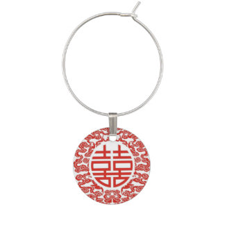 red double happiness modern chinese wedding wine charm