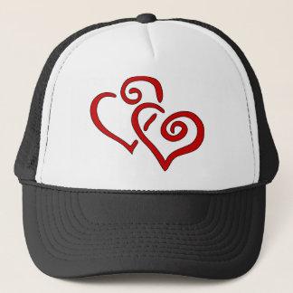 Red Double Heart Trucker Hat