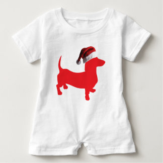 Red-Doxie---And-Santa-Hat Baby Bodysuit