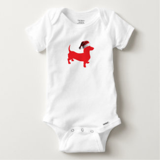 Red-Doxie---And-Santa-Hat Baby Onesie