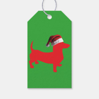 Red-Doxie---And-Santa-Hat Gift Tags