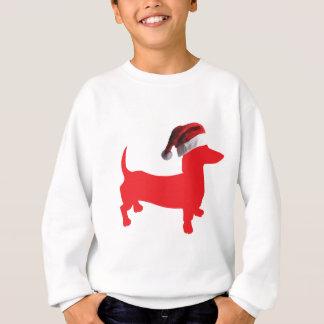 Red-Doxie---And-Santa-Hat Sweatshirt
